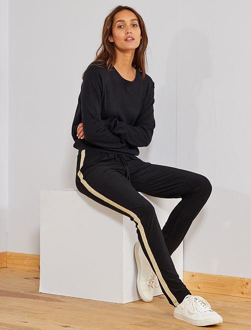 Pantalón con bandas brillantes                             negro Mujer talla 34 a 48