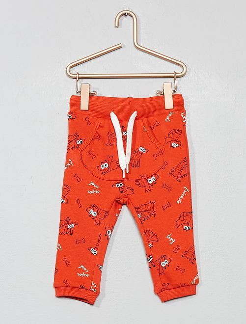 Pantalón con bolsillo estilo canguro de felpa estampado                                                                             ROJO Bebé niño