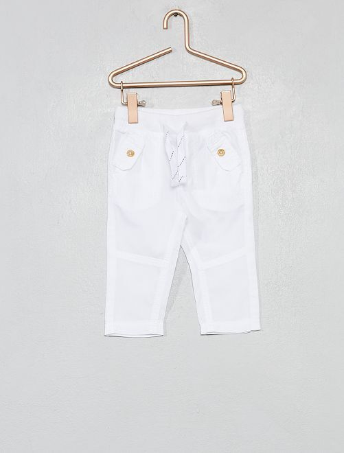Pantalón con bolsillos abotonados                                                                 blanco Bebé niño