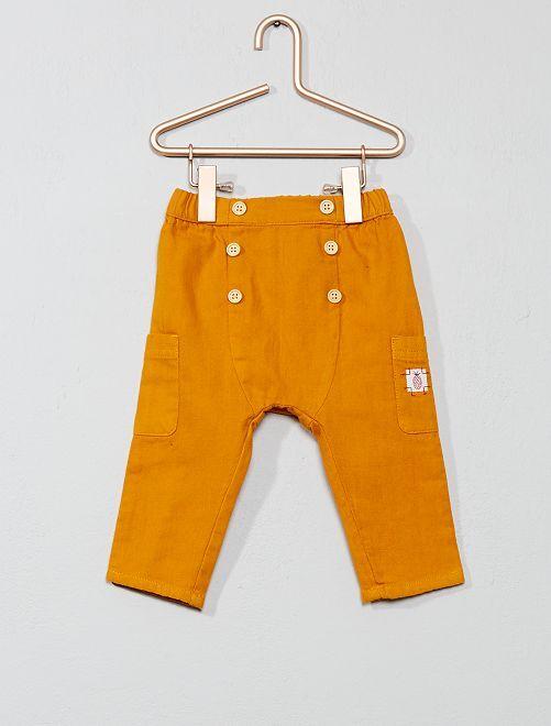 Pantalón con botones de fantasía                             NARANJA Bebé niño