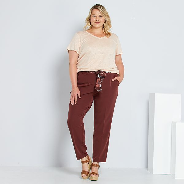 Pantalon Con Cinturon Tipo Panuelo Tallas Grandes Mujer Rojo Kiabi 15 00