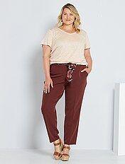 Pantalones Tallas Grandes Mujer Rojo Kiabi