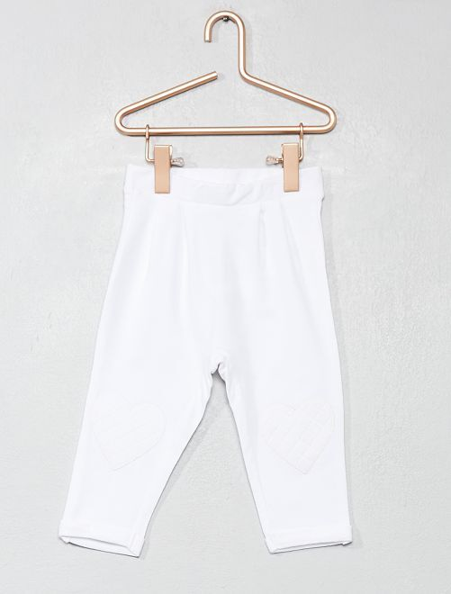 Pantalón con corazón en las rodillas                                                                 blanco Bebé niña