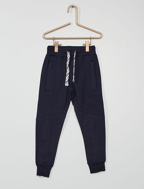 Pantalón con pespuntes                             azul marino