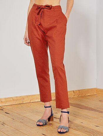 b5a9c0d202 Pantalón con pinzas de lino y viscosa - Kiabi