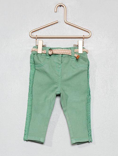 Pantalón con volantes + cinturón                             verde Bebé niña