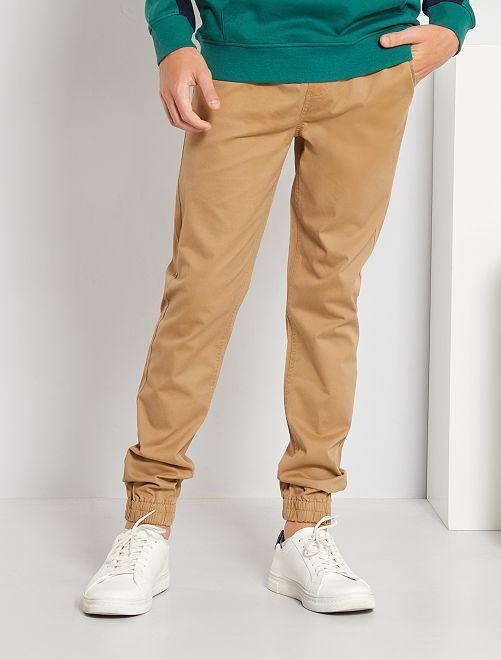 Pantalón corte jogger de sarga                                                     BEIGE