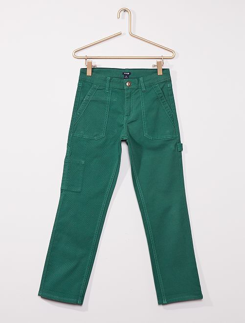 Pantalón corte slim estilo 'worker'                                         VERDE