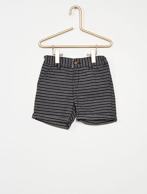 Pantalón corto a rayas                             AZUL
