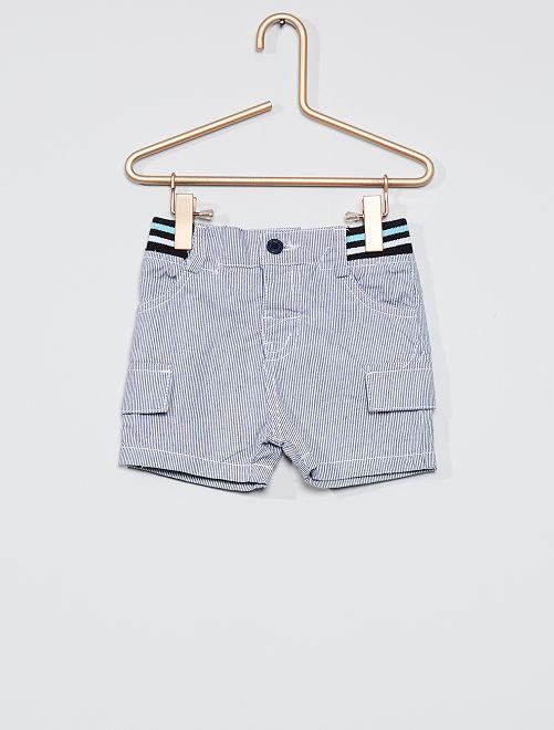 Pantalón corto a rayas                             azul/blanco