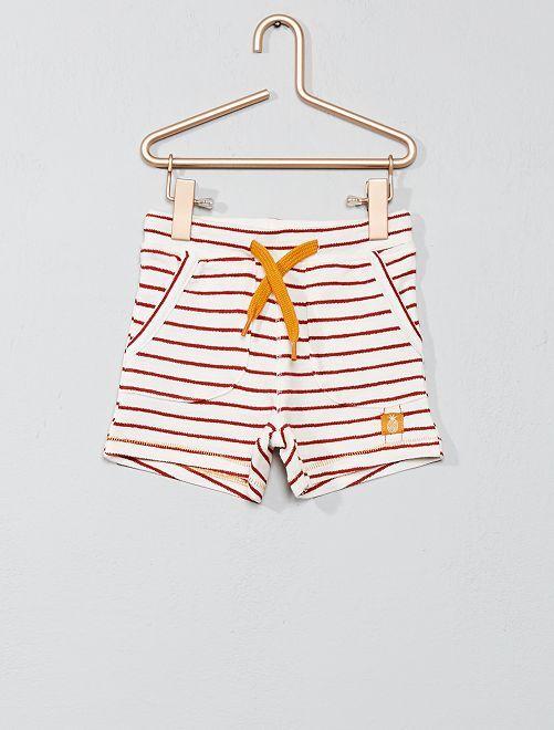 Pantalón corto a rayas                                         BLANCO Bebé niño