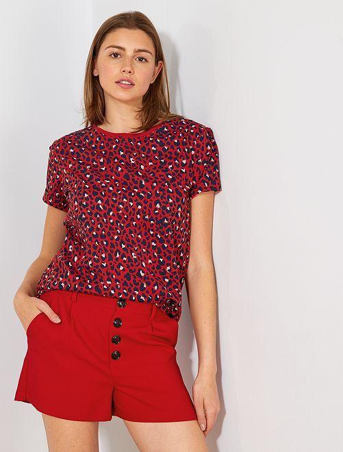 Pantalón corto abotonado                                                     rojo