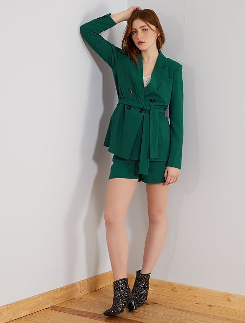 Pantalón corto chic de crepé                     verde profundo Mujer talla 34 a 48