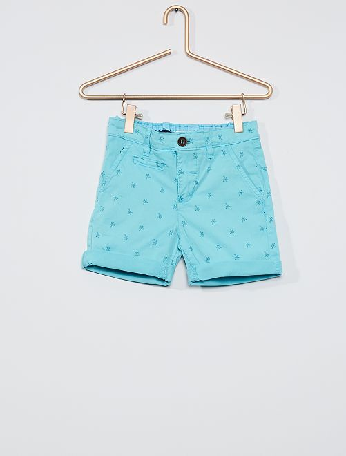 Pantalón corto chino estampado                             azul