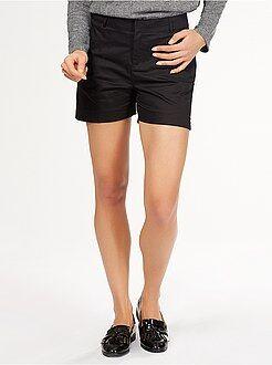 Pantalones cortos, short - Pantalón corto clásico de raso de algodón