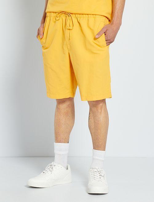 Pantalón corto con cintura elástica                                         NARANJA
