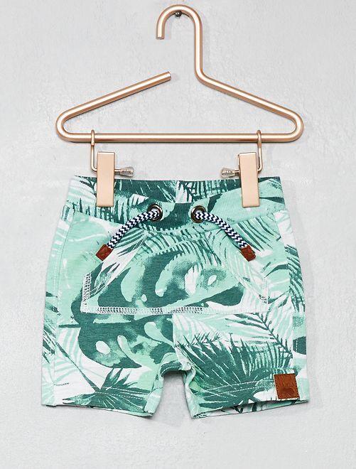 Pantalón corto con estampado de 'hojas' all over                             verde Bebé niño