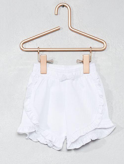 Pantalón corto de algodón puro con volantes                                                     blanco Bebé niña