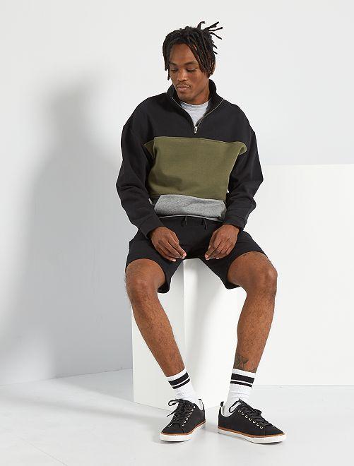 Pantalón corto de deporte de punto de piqué                             negro