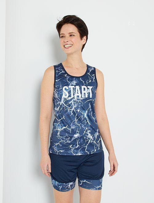 Pantalón corto de deporte efecto 2 en 1                                         azul marino