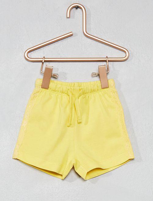 Pantalón corto de encaje bordado                                                                             AMARILLO Bebé niña