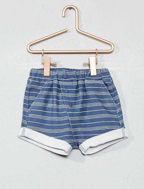 Pantalón corto de felpa a rayas                             azul rayado Bebé niño