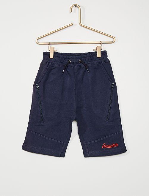 Pantalón corto de felpa cremallera                                         azul marino