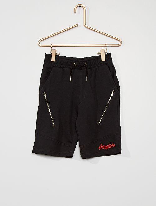 Pantalón corto de felpa cremallera                                 negro