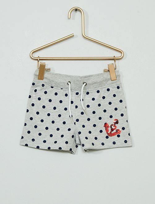 Pantalón corto de felpa                             gris