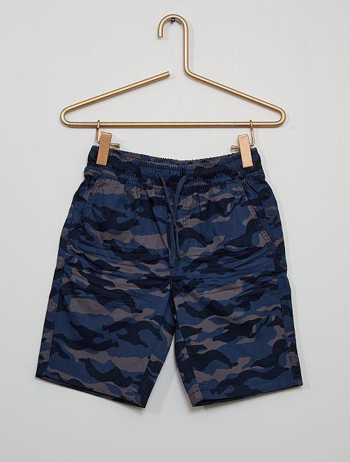 Pantalón corto de felpa ligera 'camuflaje'                             AZUL