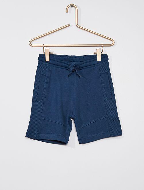 Pantalón corto de felpa ligera eco-concepción                                                                                                                 AZUL