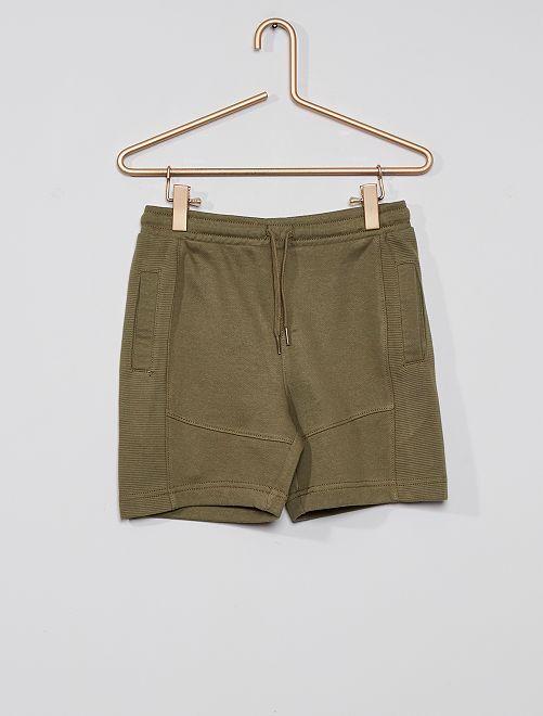 Pantalón corto de felpa ligera eco-concepción                                                                                         verde liquen