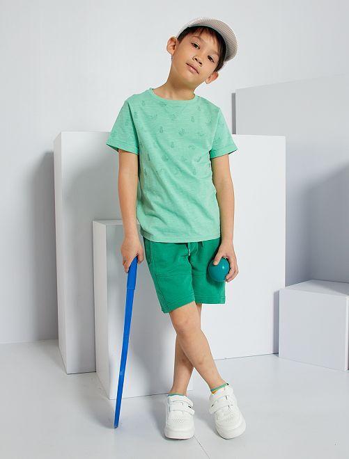 Pantalón corto de felpa ligera eco-concepción                                                                                         verde