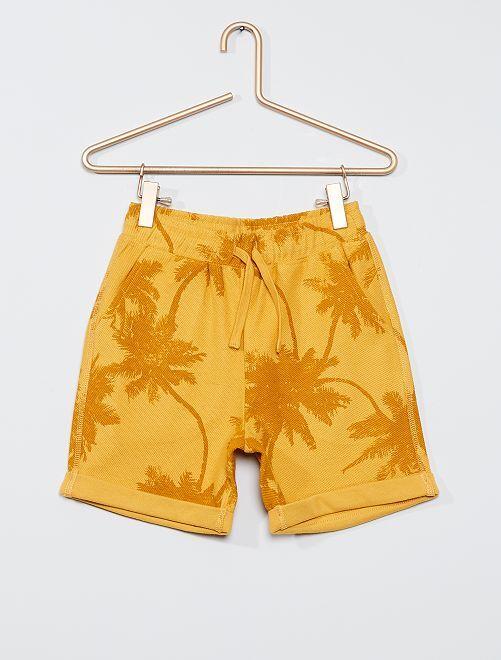 Pantalón corto de felpa ligera estampado                                                                 AMARILLO