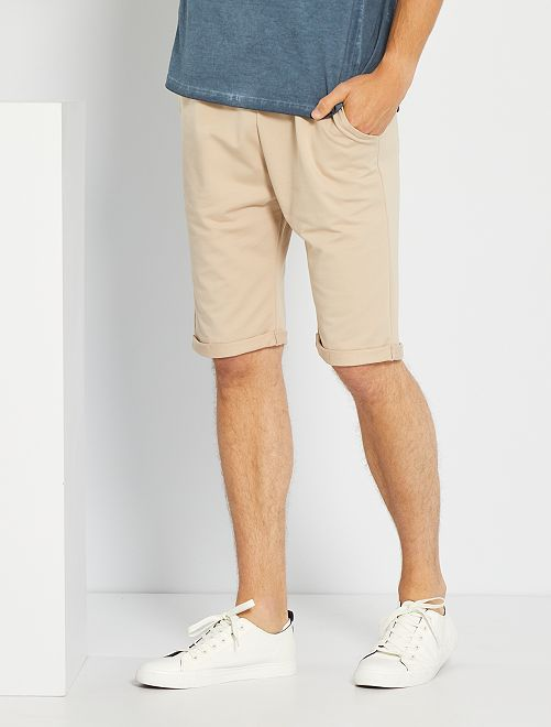 Pantalón corto de felpa ligero                                                                 beige