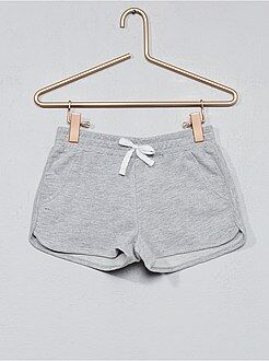 Pantalones cortos, short gris - Pantalón corto de felpa lisa - Kiabi