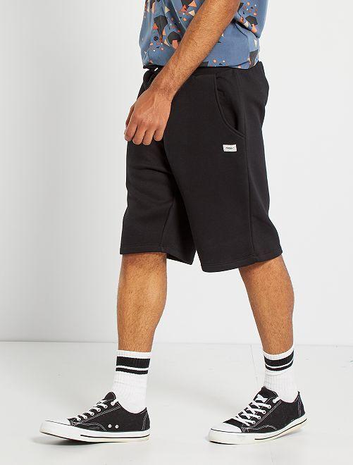 Pantalón corto de felpa perchada                                         negro