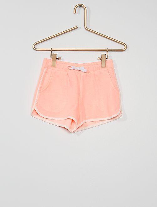 Pantalón corto de felpa                             rosa flúor