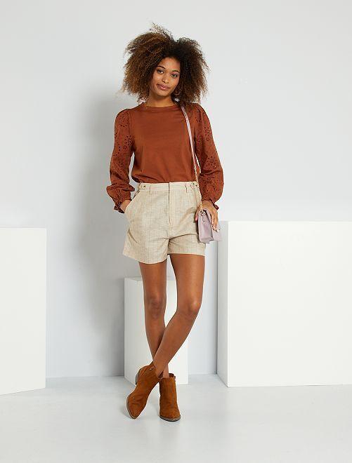 Pantalón corto de lino y algodón                             BEIGE