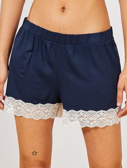 Pantalón corto de pijama con acabado de encaje                     azul