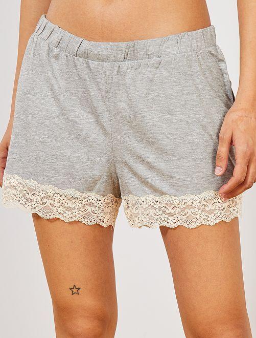 Pantalón corto de pijama con acabado de encaje                                                                 GRIS Lencería de la s a la xxl