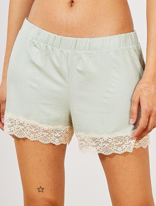 Pantalón corto de pijama con acabado de encaje                                                                 verde ceniciento Lencería de la s a la xxl