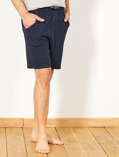 Pantalón corto de pijama de punto                                                     AZUL Hombre