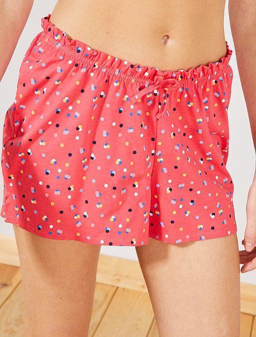 Pantalón corto de pijama estampado 'lunares'                                                                 rojo Lencería de la s a la xxl