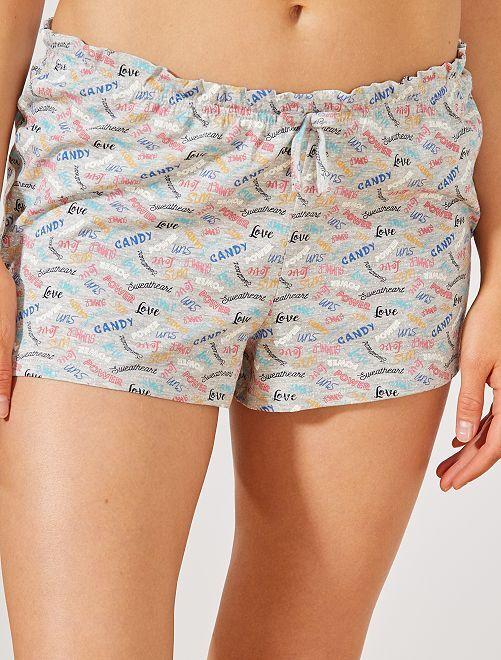 Pantalón corto de pijama estampado 'mensajes'                                                                 GRIS