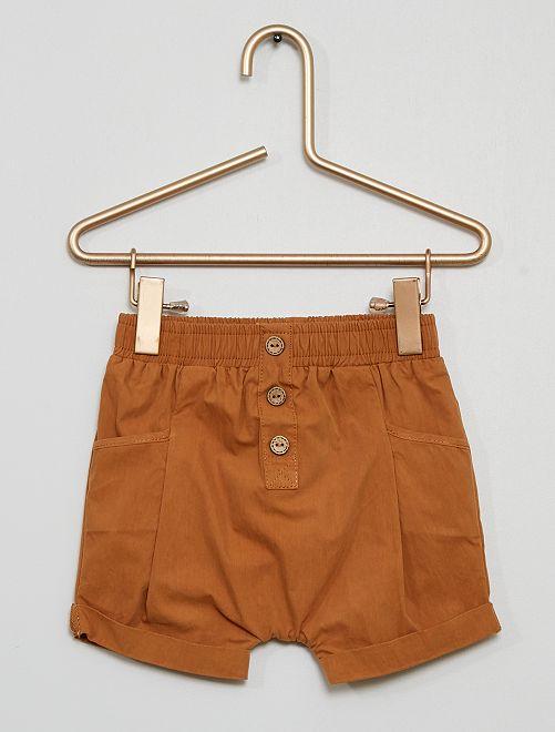 Pantalón corto de popelina                             BEIGE