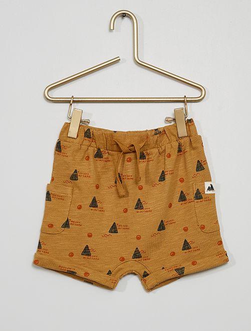 Pantalón corto de punto estampado 'montañas'                                         BEIGE