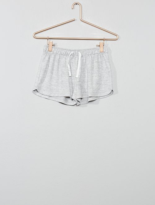 Pantalón corto de punto suave                             GRIS