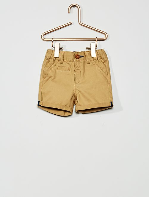 Pantalón corto de sarga                                                                                         BEIGE