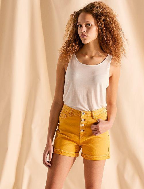 Pantalón corto de sarga con bragueta abotonada                                                                                                                 AMARILLO Mujer talla 34 a 48